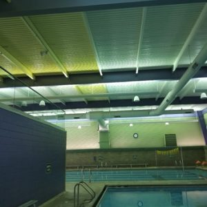 pool ceiling with yellowing
